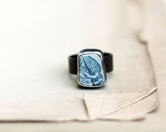 Blue silver ring Antique ceramic ring shard blue feather beach pottery shard sterling silver ring oxidized silver