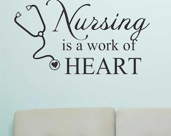 Nursing a Work Heart, Vinyl Wall Lettering, Vinyl Wall Decals, Vinyl Decals, Vinyl Lettering, Wall Decals, Nurse Decal, Office Decal