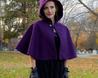 Capelet - Purple Capelet - Wool Capelet  - Hooded Capelet - Capelet with Hood