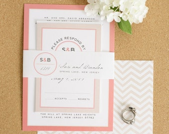 Blush Wedding Invitation with Chevron Envelope Liner - Modern Initials Wedding Invitations by Shine Invitations
