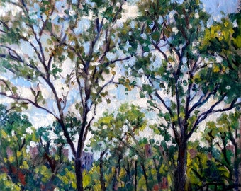 Summer Trees in Isham Park, NYC. 11x14 Oil on Canvas, Urban Impressionist Plein Air Fine Art, Signed Original Realist Oil Painting Landscape