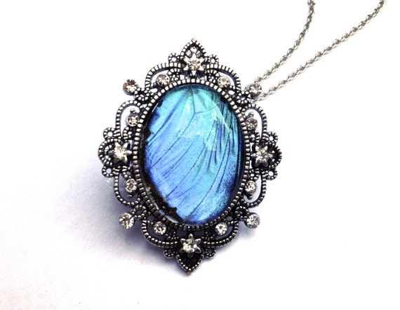 Real Blue Morpho Butterfly Wing Necklace Large Crystal Pendant