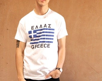 vintage SUMMER striped GREECE vintage 90s y2k BLUE & white t-shirt men's size small