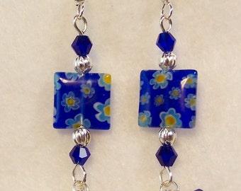 Blue Yellow White Millefiori Dangle Earrings
