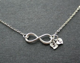 Infinity necklace, Infinity symbol with personalized initials, Infinity heart necklace, Mothers necklace,Friendship necklace,Sterling silver