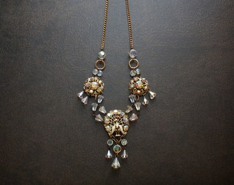 Victorian Peacock Vintage Assemblage Necklace with AB Crystals and Gold Curb Chains