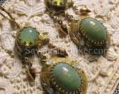 LAST PAIR - Antique Style Victorian Edwardian Earrings - Celadon Green Glittering Art Glass