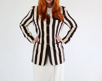 SALE - Vintage 90s Dark Brown and Cream Stripes Silk Jacket Blazer// Wear to Work