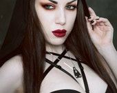 Witch Please hood harness pentagram bra cage with oversized detachable goth witch cloak hood