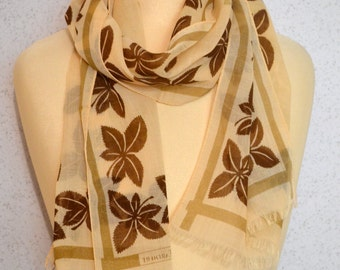 Long vintage scarf: Leaves in Beige, Brown and Tan