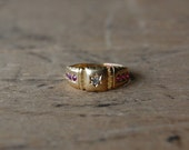Antique 18K gold gypsy set ruby and diamond ring ∙ Edwardian gold and ruby ring