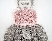 Etching / limited edition original etching (printmaking / graphic art) / original print / floral etching / rose - 'Girl carrying flowers'