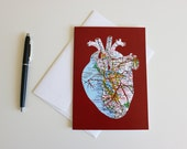 Anatomical Heart // San Francisco Bay Area Map Cut Out Greeting Card // I Left My Heart in San Francisco