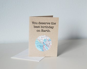 Mini Birthday Card // Customize with a Map of Your Choice // You Deserve the Best Birthday on Earth