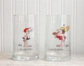 Vintage 80s Glasses, 1980s BC Ice Age Vintage Collectible  His and Hers, Caveman party, Fat Brod Characters, Comic Strip,  1981 arbys