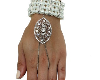 1920's Great Gatsby Inspired Pearl Crystal Hand Chain Bridal Prom Bracelet Handpiece