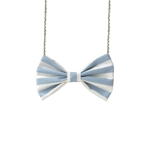 Baby Blue Stripes - Bow Tie Necklace, Blue Striped Bowtie