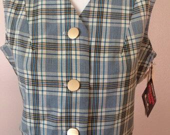 Vintage Mooresville Koratron Blue Plaid Vest NWT 1970s NOS Mod Cropped
