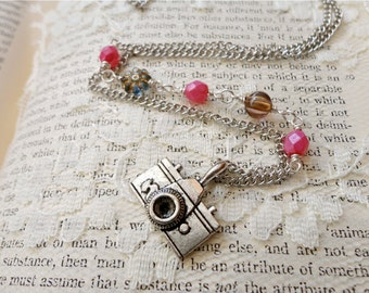 Berry pink and silver asymmetrically beaded silver camera charm necklace, Hold That Pose
