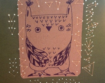 Arrow Owl original illustration drawing  with embroidery on paper  ,  original art  by Wassupbrothers.