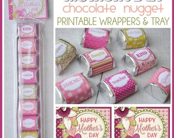 MOTHER'S DAY Chocolate Nugget Wrappers, Treat for MOM, favor - Printable Instant Download