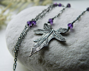 Bryonia, Bryony - Petite Leaf with Amethyst, Fine Silver Necklace  by Quintessential Arts