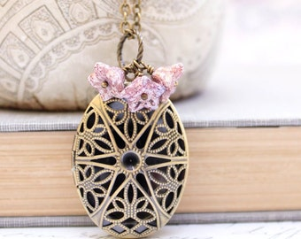 Filigree Locket Necklace Oval Photo Locket Antique Brass Purple Glass Flower Charm Pendant Keepsake Jewelry Secret Hiding Place Gift For Her