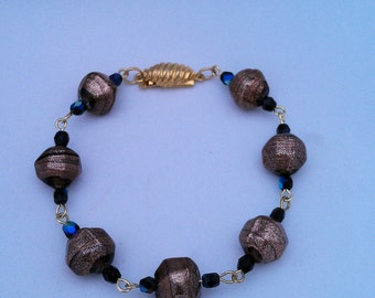 Painted Glass and Crystal Bracelet