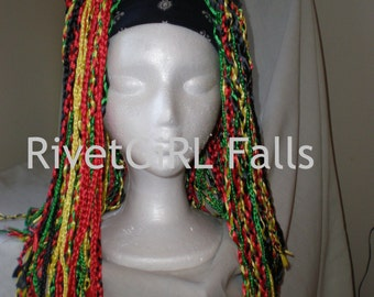 Rasta Ribbon Hairfalls/Cyberlox by RivetGiRL Falls - MADE TO ORDER