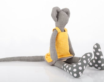 Mouse Stuffed toy, Plush mouse dark gray mice doll, wears Polka Dots dark blue geay socks and yellow dotted dress , ooak eco handmade doll