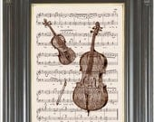 Violin and Bass COUPON SALE Sheet music print Dictionary art print Wall decor Digital art print Music decor Wall art Item No 726