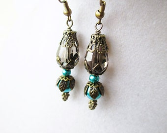 Teal Glass Pearl & Smokey Gray Crystal Layered Bronze Flower Earrings, Bridesmaids Gifts