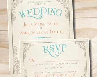 ELEGANT SCROLL Vintage Rustic Wedding Invitation / Response Card / RSVP - You Print