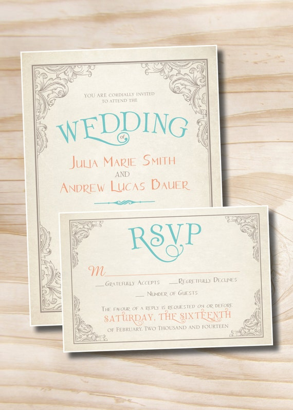 vintage rustic wedding invitation and response card invitation suite