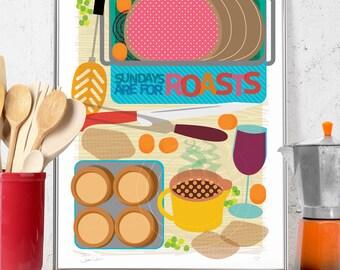 Sunday Roast Food Illustration Art Print