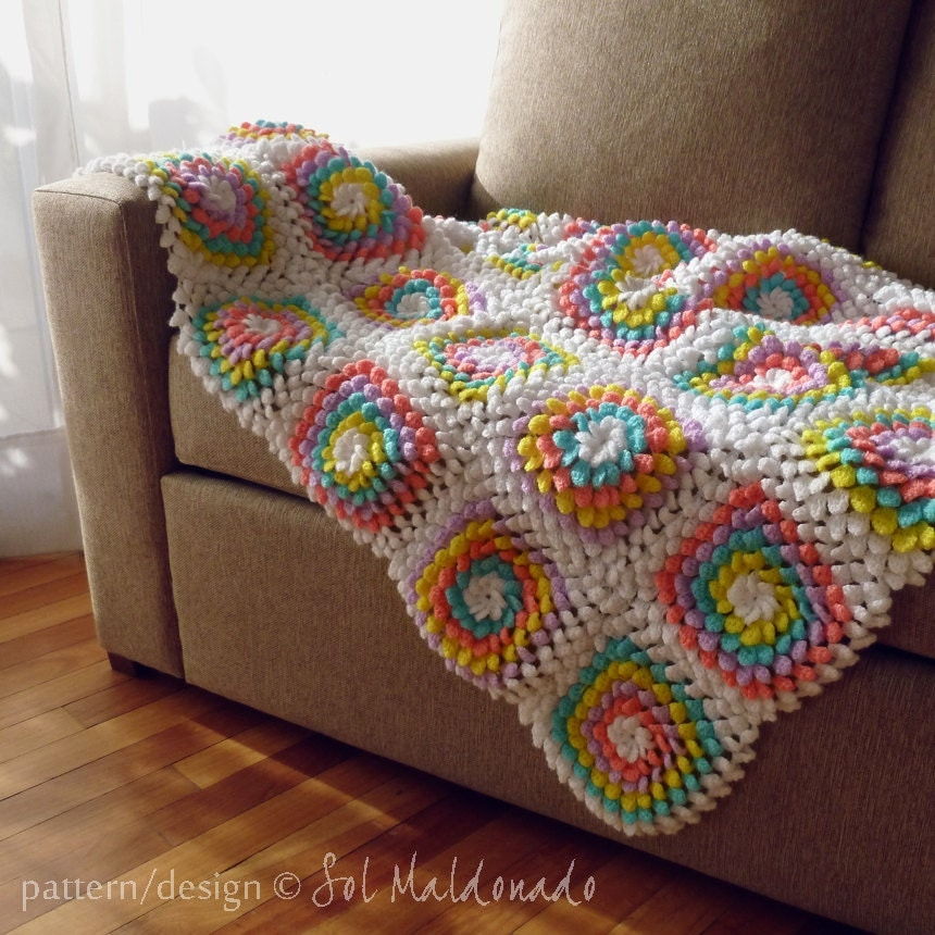 Crochet Flower Pattern Blanket : Crochet Blanket Pattern PDF Yummy Flower granny square