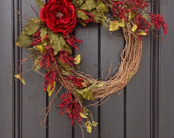 Spring Summer Fall Wreath Red Berry Branches Twig Grapevine Door Wreath Decor Use Year Round Floral Door Decoration Indoor Outdoor Decor