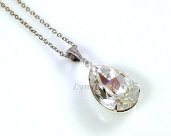 Crystal Teardrop Necklace - Wedding Bridal Bridesmaids Swarovski Crystal Sparkling Clear White Classic Pendant Necklace Under 25