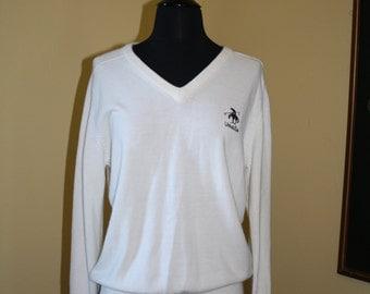 Vintage White Sweater Tennis Cashmerlon Umatilla Lightweight V-Neck XS to M