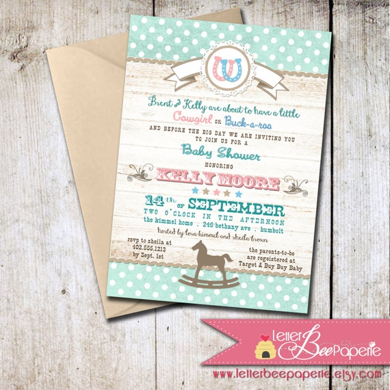 western baby shower invitation gender neutral gender reveal party