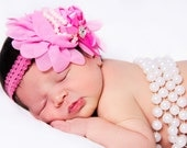 Baby Toddler Girls Boutique Fancy Pink or Ivory Chiffon Flower with rhinestone and pearl accents on Lace Headband Photo Prop