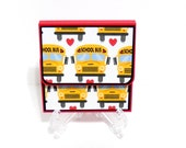Post-It Note Holder, Notepad, Back To School, Teachers Gift- School Bus-Velcro Closure