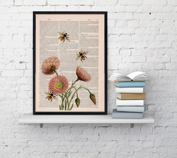 Wall art home decor bees with flowers 2 dictionary art by for Bee decorations for the home