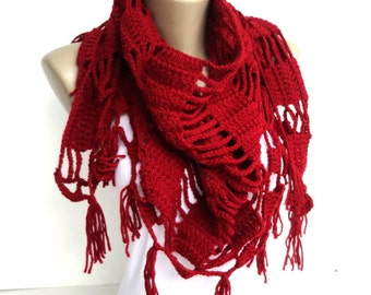 Red christmas gifts Crochet Scarf women scarf shawl  women scarves ,crocheted shawl scarf Holiday Fashion Winter Scarf Women Accessories