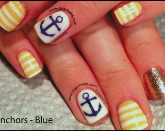 Anchor Nail Decal Blue anchors Design Nail Art