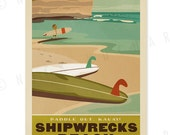 Poipu, Kauai, Shipwrecks Beach - 12 x 18 Retro Hawaii Print