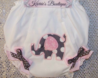 Elephant Diaper Cover / Bloomer / Panty / Polka Dot / Birthday / Newborn / Infant / Baby / Girl / Toddler / Custom Boutique Clothing