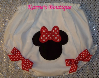 Minnie Mouse Diaper Cover / Red / Black / Disney / Bloomers / Birthday / Newborn / Infant / Baby / Girl / Toddler / Custom Boutique Clothing