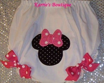 Minnie Mouse Diaper Cover / Pink / Black Micro Dots / Disney / Bloomers / Newborn / Infant/ Baby / Girl / Toddler / Custom Boutique Clothing