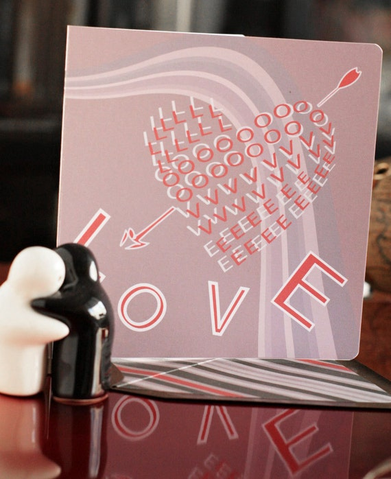 Love Is The Word Card/ Valentines Card, Anniversary Card, Love Card